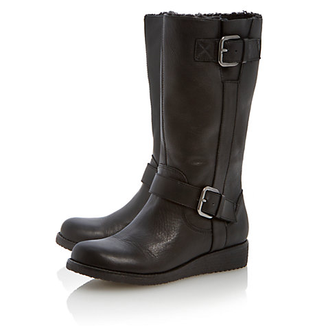 Buy Dune Rits Calf Boots, Black Online at johnlewis.com