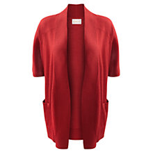 Buy East Short Sleeve Merino Cardigan, Scarlet Online at johnlewis.com