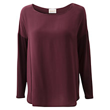 Buy East Merlot Silk Front Curve T-Shirt, Merlot Online at johnlewis.com