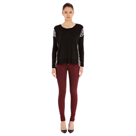 Buy Warehouse Animal Print Jumper, Black Online at johnlewis.com