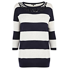 Buy Warehouse Jewelled Striped Jumper, White/Navy Online at johnlewis.com