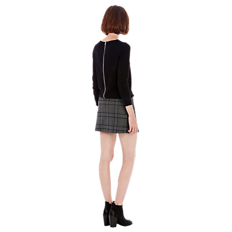 Buy Warehouse Check Zip Skirt, Grey Online at johnlewis.com