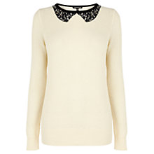 Buy Warehouse Jewelled Collar Jumper, Cream Online at johnlewis.com