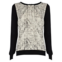 Buy Warehouse Mono Print Woven Jumper, Black Online at johnlewis.com