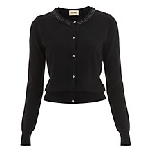 Buy Havren Embellished Crew Neck Cardigan, Black Online at johnlewis.com