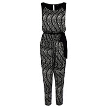 Buy Warehouse Animal Swirl Print Jumpsuit, Black Online at johnlewis.com