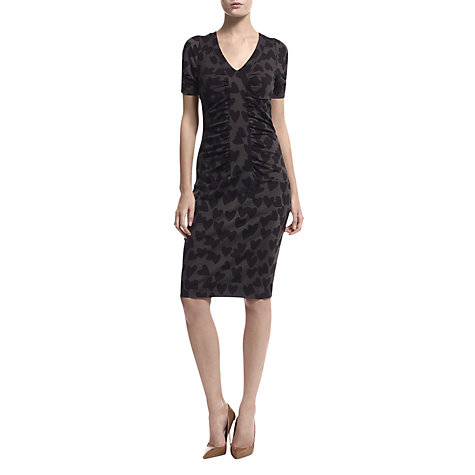 Buy Havren Heart Print V Neck Ruched Ponte Dress, Chocolate Online at johnlewis.com