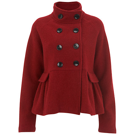 Buy Havren Double Breasted Cape Sleeve Coat, Deep Red Online at johnlewis.com