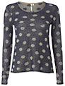 White Stuff Spots Away Jumper, Dark Sky Blue