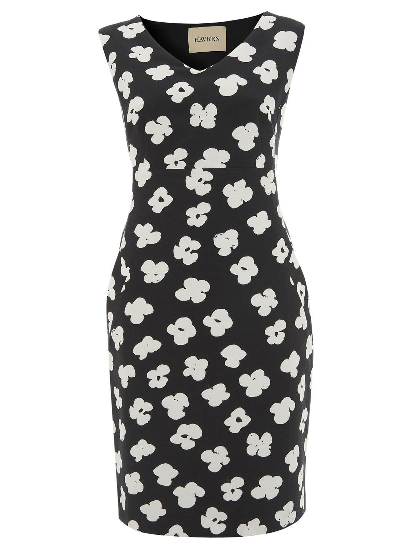 Havren Deep Pocket Daisy Print Dress, Black/White