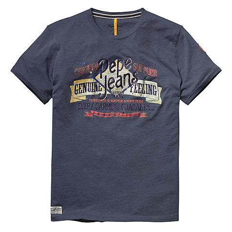 Buy Pepe Jeans Robert Logo T-Shirt, Ocean Online at johnlewis.com