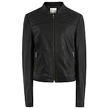 Buy Reiss Ammi Quilted Leather Jacket, Black Online at johnlewis.com