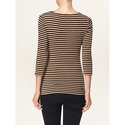 Buy Phase Eight Jennie Stripe Top, Black / Camel Online at johnlewis.com