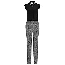 Buy Reiss Louise Contrast Shirt Jumpsuit, Black/White Online at johnlewis.com