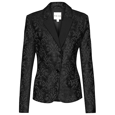 Buy Reiss Noah Floral Jacquard Tailored Jacket, Black Online at johnlewis.com
