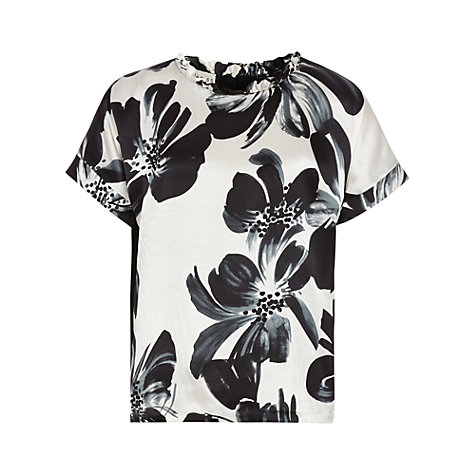 Buy Reiss Eleana Printed Frill Collar Top, Black/White Online at johnlewis.com