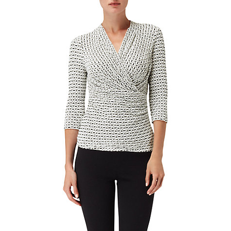 Buy Phase Eight Effie Wrap Top, Ivory/Black Online at johnlewis.com