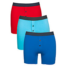 Buy John Lewis Cotton Stretch Trunks, Pack Of 3, Red/Turquoise/Blue Online at johnlewis.com