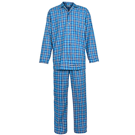 Buy John Lewis Classic Check Brushed Cotton Pyjamas, Blue Online at johnlewis.com