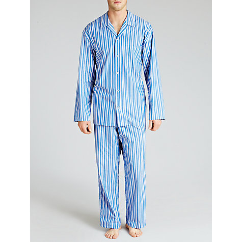 Buy John Lewis Steve Brushed Cotton Striped Pyjamas, Blue Online at johnlewis.com