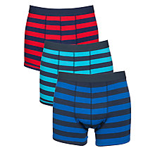 Buy John Lewis Rugby Stripe Boxer Trunks, 3 Pack, Multi Online at johnlewis.com