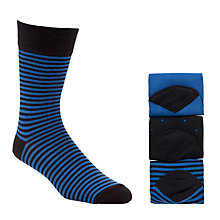 Buy John Lewis Bamboo and Cotton Socks, Pack of 3, Blue Online at johnlewis.com