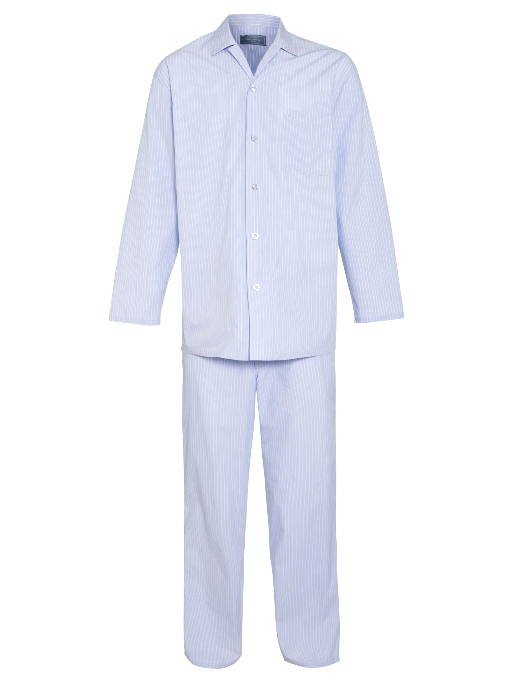 John Lewis Steve Brushed Cotton Striped Pyjamas, Light Blue