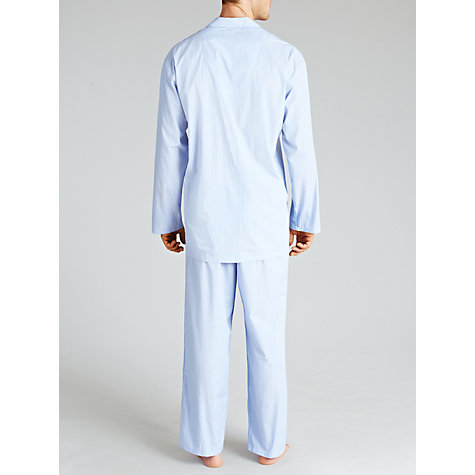 Buy John Lewis Steve Brushed Cotton Striped Pyjamas, Light Blue Online at johnlewis.com