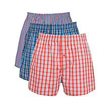 Buy John Lewis Check and Striped Woven Boxer Shorts, Pack of 3, Blue/Red Online at johnlewis.com