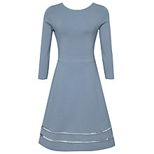 Buy Reiss Didsbury Knitted Fit And Flare Dress, Blue Online at johnlewis.com