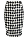 Buy Vviyella Dogtooth Pencil Skirt, Black/Ivory, 14 Online at johnlewis.com