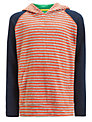John Lewis Boy Hooded Stripe Top, Red/Navy