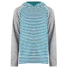 Buy John Lewis Boy Hooded Strip Top, Grey/Teal Online at johnlewis.com