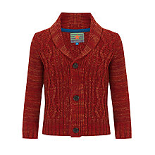 Buy John Lewis Boy Chunky Cable Knit Cardigan, Red Online at johnlewis.com