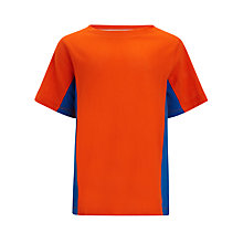 Buy John Lewis Boy Panel T-Shirt, Orange/Blue Online at johnlewis.com