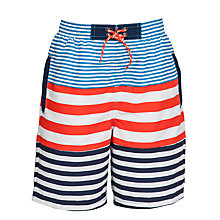 Buy John Lewis Boy Stripe Board Shorts, Navy/Red Online at johnlewis.com