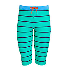Buy John Lewis Boy Striped Long Swimming Trunks, Green/Blue Online at johnlewis.com