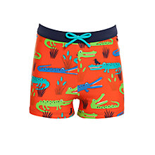 Buy John Lewis Boy Crocodile Swimming Trunks, Red Online at johnlewis.com