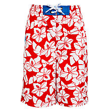 Buy John Lewis Boy Hibiscus Board Shorts, Red/White Online at johnlewis.com