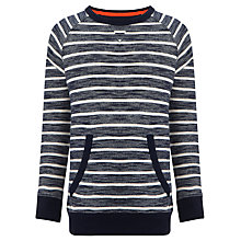 Buy John Lewis Boy Crew Neck Striped Sweater, Navy/Cream Online at johnlewis.com