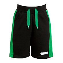 Buy John Lewis Boy Fleece Shorts, Black/Green Online at johnlewis.com