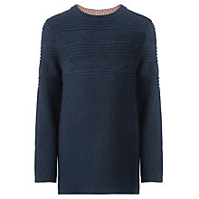 Buy John Lewis Boy Guernsey Knitted Jumper, Navy Online at johnlewis.com