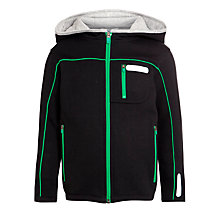 Buy John Lewis Boy Zip-Through Sweatshirt, Black/Green Online at johnlewis.com
