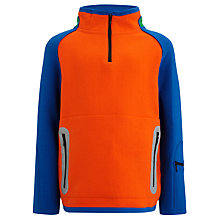 Buy John Lewis Boy Zip-Neck Sweatshirt, Orange/Blue Online at johnlewis.com