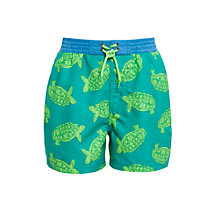 Buy John Lewis Boy Turtle Board Shorts, Green Online at johnlewis.com
