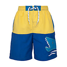 Buy John Lewis Boy Shark Board Shorts, Blue/Yellow Online at johnlewis.com