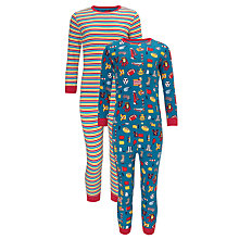 Buy John Lewis Boy Stripe and Sports Pyjamas, Pack of 2, Multi Online at johnlewis.com