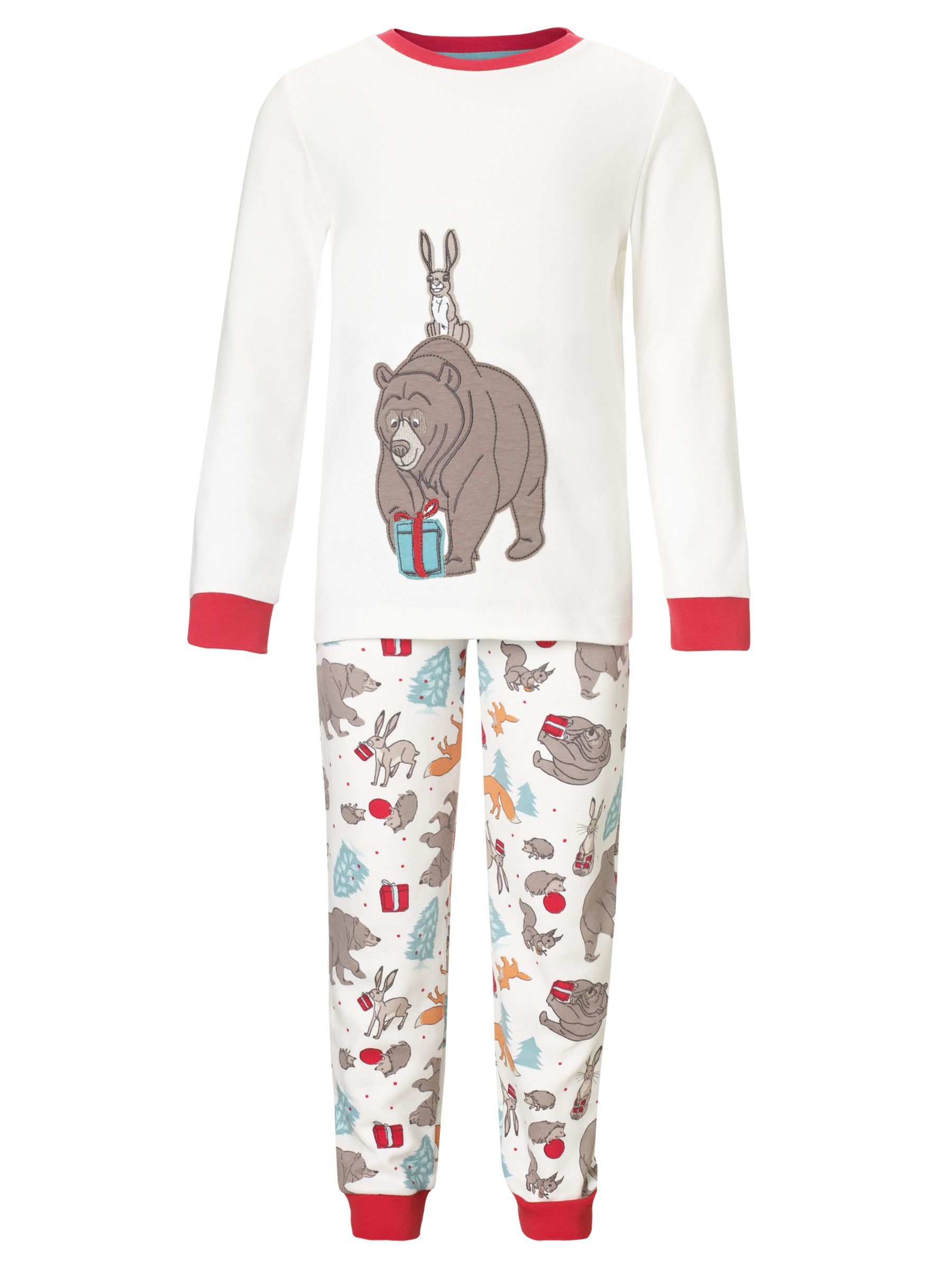 John Lewis The Bear & The Hare Christmas Pyjamas, Cream/Multi
