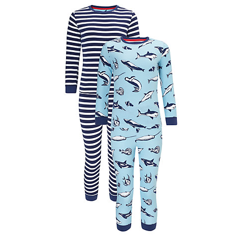 Buy John Lewis Boy Shark and Stripe Pyjamas, Pack of 2, Blue/White Online at johnlewis.com