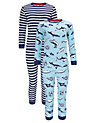 Buy John Lewis Boy Shark and Stripe Pyjamas, Pack of 2, Blue/White, 2 years Online at johnlewis.com